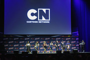 "(L-R) Shelby Rabara, Jennifer Paz, AJ Michalka, Charlyne Yi, Tom Scharpling, Kat Morris, Rebecca Sugar, and Eric Bauza speak onstage during the Cartoon Network ""Steven Universe"" panel at New York Comic Con on October 7, 2016 in New York City."