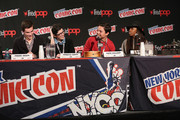 (L-R) Jeremy Shada, Rebecca Sugar, Zack Callison and Estelle attend the Cartoon Network Super Press Hour: CN Anything at New York Comic Con 2014 at Jacob Javitz Center on October 12, 2014 in New York City.  24884_011_0700.JPG