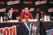 (L-R) Rebecca Sugar, Zack Callison and Estelle speak at the Cartoon Network Super Press Hour: CN Anything at New York Comic Con 2014 at Jacob Javitz Center on October 12, 2014 in New York City.  24884_011_0695.JPG