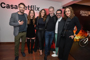 (L to R) Charlie Cox, Camila Sodi, Cristina Umaña, Reed Hastings, Manolo Caro and Cecilia Suarez pose during Casa Netflix Cocktail Party at Galeria Cero on October 9, 2018 in Bogota, Colombia.