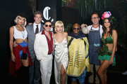(L-R) Model Tori Praver, Catch Hospitality Group founders Mark Birnbaum, Eugene Remm his wife Valerie Goldin-Remm and rapper Jermaine Dupri and guests attend Casamigos & CATCH Halloween party at CATCH Las Vegas in ARIA Resort & Casino on October 27, 2018 in Las Vegas, Nevada.