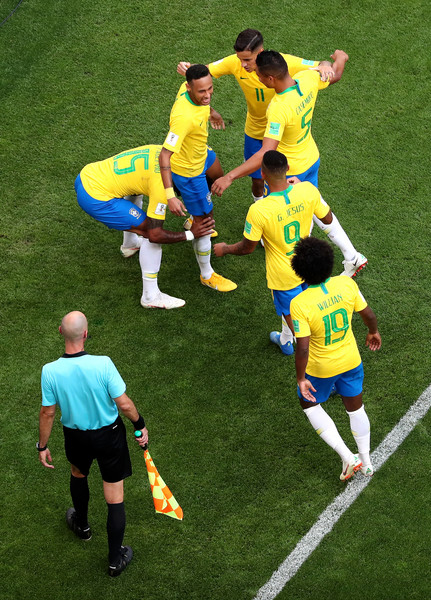 Brazil vs. Mexico: Round of 16 - 2018 FIFA World Cup Russia [ball game,football player,football,soccer player,player,team sport,sport venue,soccer,sports equipment,sports,neymar jr,teammates,goal,russia,mexico,samara arena,brazil,team,round,2018 fifa world cup]