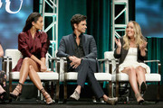 (L-R) Actors Shay Mitchell and John Stamos and author Caroline Kepnes of Lifetime's 'YOU' speak onstage during The 2018 Summer Television Critics Association Press Tour on July 26, 2018 in Los Angeles, California.