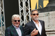 George Clooney and Giancarlo Giannini (L) attend 'Catch-22' Photocall, a Sky production, at The Space Moderno Cinema on May 13, 2019 in Rome, Italy.