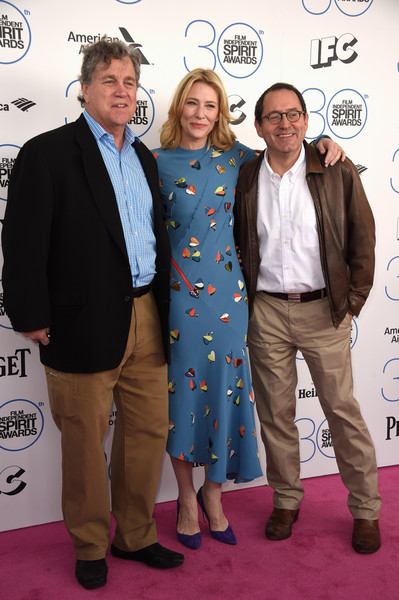 2015 Film Independent Spirit Awards - Arrivals [carpet,event,suit,premiere,fashion,red carpet,flooring,outerwear,award,arrivals,cate blanchett,co-president,co-founder,co-president,co-founder,l-r,santa monica beach,sony pictures classics,film independent spirit awards]