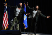 Twin tap dancers John Scott (L) and Sean Scott perform during a celebration of life honoring the late comedian/actor Marty Allen on what would have been his 96th birthday at the Rampart Casino at The Resort at Summerlin on March 23, 2018 in Las Vegas, Nevada. Allen died on February 12 in Las Vegas and was laid to rest in Los Angeles.