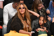 Beyonce and Blue Ivy Carter attend The 67th NBA All-Star Game: Team LeBron Vs. Team Stephen at Staples Center on February 18, 2018 in Los Angeles, California.