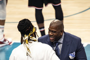 Magic Johnson talks to 2 Chainz at the 68th NBA All-Star Game  on February 17, 2019 in Charlotte, North Carolina.