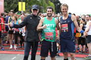 Chris Evans, Matt Johnson and James Cracknell pose for a photo ahead of participating in The Virgin London Marathon on April 23, 2017 in London, England.