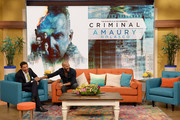 """Johnny Lozada and Amaury Nolasco is on the set of Univisions """"despierta America"""" in support of thefilm """"Criminal"""" at Univision Headquarters on April 13, 2016 in Miami, Florida."""