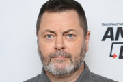 """(EXCLUSIVE COVERAGE) Nick Offerman visits BuzzFeed's """"AM To DM"""" on March 11, 2020 in New York City."""