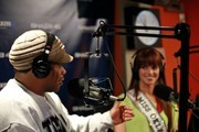 """Sway interviews Miss Oklahoma Lauren Lundeen during """"Sway in the Morning"""" on Eminem's Shade 45 channel at the SiriusXM studio on May 9, 2012 in New York City."""