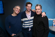 (L-R) Andy Cohen, Actor Andrew Rannells, and fashion designer Isaac Mizrahi pose for a photo during a visit to 'Radio Andy' at SiriusXM Studios on March 11, 2019 in New York City.