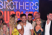 Winner Ryan Thomas (C) is congratulated by fellow housemates during the Celebrity Big Brother final 2018 at Elstree Studios on September 10, 2018 in Borehamwood, England.