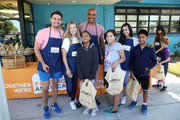 (Backrow L-R) Jonathan Bennet, Ali Larter, Boris Kodjoe and Emily Tosta and guests attend the Celebrity Friends Of Feeding America volunteer at The Santa Monica Boys and Girls Club to raise awareness around summer hunger at Santa Monica Boys and Girls Club on July 17, 2019 in Culver City, California.