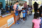 General atmosphere during the celebrity friends of Feeding America volunteer at The Santa Monica Boys and Girls Club to raise awareness around summer hunger at Santa Monica Boys and Girls Club on July 17, 2019 in Culver City, California.