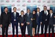 """(L-R) Actors Byron Mann, Christian Bale, Ryan Gosling, chairman and CEO of Paramount Pictures Brad Grey, actors Steve Carell and Marisa Tomei, producer Jeremy Kleiner, director Adam McKay and composer Nicholas Britell attend the closing night gala premiere of Paramount Pictures' """"The Big Short"""" during AFI FEST 2015 at TCL Chinese Theatre on November 12, 2015 in Hollywood, California."""