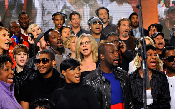 """""""We Are The World"""" Recording Session [we are the world,handout photo,people,social group,youth,crowd,event,product,community,team,fun,smile,singers,toni braxton,ll cool j,katharine mcphee,sales,archive,recording session,recording session]"""