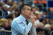 Coach Billy Donovan of the Florida Gators directs play against the Central Florida Knights  November 23, 2012 at Stephen C. O'Connell Center in Gainesville, Florida.  Florida won 79 - 66.
