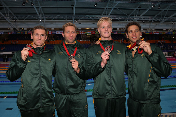 20th Commonwealth Games: Swimming [commonwealth games,team,crew,uniform,bronze medallists,leith shankland,chad le clos,r,sebastien rousseau,south africa,2ndr,swimming,medal ceremony]