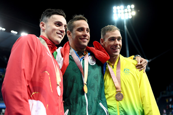 Swimming - Commonwealth Games Day 5 [event,team,championship,medal,competition event,games,award,performance,chad le clos,james guy,grant irvine,l-r,australia,england,south africa,commonwealth games,mens 100m butterfly final,medal ceremony]