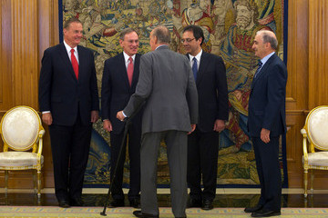 James L. Jones Chairman Of General Dynamics Attends an Audience With King Juan Carlos of Spain