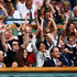 Billie Jean King, Catherine, Duchess of Cambridge and Prince William, Duke of Cambridge  and  Chairman of the All England Lawn Tennis Club Philip Brook participate in the wave during the fourth round match between Rafael Nadal of Spain and Juan Martin Del Potro of Argentina on Day Seven of the Wimbledon Lawn Tennis Championships at the All England Lawn Tennis and Croquet Club on June 27, 2011 in London, England.