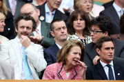 (LR) Michael Sheen, Paul Tonkinson and Michael McIntyre look on from the Royal Box on Centre Court ahead of the Ladies? Singles final match between Serena Williams of the USA and Agnieszka Radwanska of Polandon day twelve of the Wimbledon Lawn Tennis Championships at the All England Lawn Tennis and Croquet Club on July 7, 2012 in London, England.