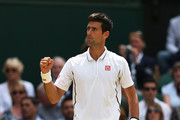 Novak Djokovic of Serbia celebrates a point during the Gentlemen's Singles semi-final match against Juan Martin Del Potro of Argentina on day eleven of the Wimbledon Lawn Tennis Championships at the All England Lawn Tennis and Croquet Club on July 5, 2013 in London, England.