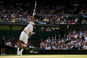 Juan Martin Del Potro of Argentina serves during the Gentlemen's Singles semi-final match against Novak Djokovic of Serbia on day eleven of the Wimbledon Lawn Tennis Championships at the All England Lawn Tennis and Croquet Club on July 5, 2013 in London, England.