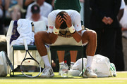 Novak Djokovic of Serbia pours water over his head during a break in the Gentlemen's Singles semi-final match against Juan Martin Del Potro of Argentina on day eleven of the Wimbledon Lawn Tennis Championships at the All England Lawn Tennis and Croquet Club on July 5, 2013 in London, England.