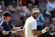 Juan Martin Del Potro of Argentina celebrates a point during the Gentlemen's Singles semi-final match against Novak Djokovic of Serbia on day eleven of the Wimbledon Lawn Tennis Championships at the All England Lawn Tennis and Croquet Club on July 5, 2013 in London, England.