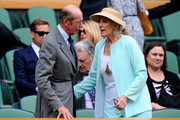 Prince Edward, Duke of Kent and Princess Michael of Kent talk in the Royal Box on Centre Court during day seven of the Wimbledon Lawn Tennis Championships at the All England Lawn Tennis and Croquet Club on July 1, 2013 in London, England.