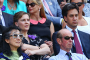Prince Edward, Duke of Kent, Dame Mitsuko Uchida, Ed Miliband and Justine Thornton attend the Gentlemen's Singles Final match between Andy Murray of Great Britain and Novak Djokovic of Serbia on day thirteen of the Wimbledon Lawn Tennis Championships at the All England Lawn Tennis and Croquet Club on July 7, 2013 in London, England.