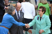 Billie Jean King greets Lady Susan Hussey and Prince Edward, Duke of Kent in the Royal Box on Centre Court before the Ladies' Singles final match between Sabine Lisicki of Germany and Marion Bartoli of France on day twelve of the Wimbledon Lawn Tennis Championships at the All England Lawn Tennis and Croquet Club on July 6, 2013 in London, England.