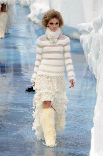 Model walks the runway during the Chanel Ready to Wear show as part of the Paris Womenswear Fashion Week Fall/Winter 2011 at Grand Palais on March 9, 2010 in Paris, France.
