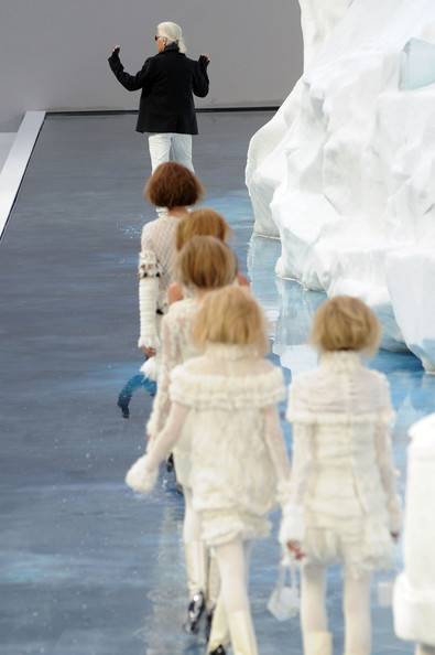 Models and Designer Karl Lagerfeld walk the runway at the end of the Chanel Ready to Wear show as part of the Paris Womenswear Fashion Week Fall/Winter 2011 at Grand Palais on March 9, 2010 in Paris, France.