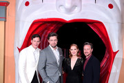 "(L-R) Bill Skarsgård, director Andy Muschietti, Jessica Chastain and James McAvoy attend the ""IT Chapter Two"" European Premiere at The Vaults on September 02, 2019 in London, England."