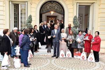 Charlene Wittstock Prince Albert II of Monaco Attends the Christmas Gifts Distribution at Monaco Palace in Monte-Carlo
