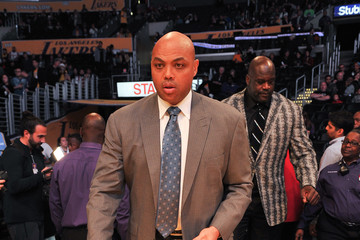 Charles Barkley Celebrities At The Los Angeles Lakers Game