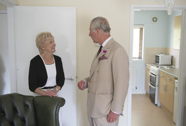 Charles, Prince of Wales, Patron, the Almshouse Association visits the St John and St Anne Almshouse on July 28, 2014 in Oakham, England. The Almshouse provides housing for retired people who want to maintain their independence.