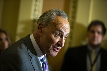 Charles Schumer Senate Lawmakers Speak To The Press After Their Weekly Policy Luncheons