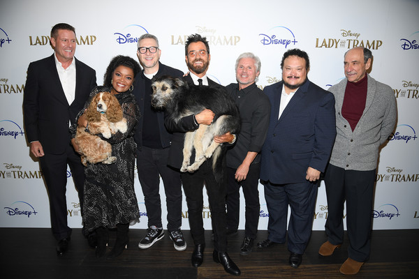 """Cinema Society Hosts Special Screening Of Disney+'s """"Lady And The Tramp"""" - Red Carpet [lady and the tramp,event,sporting group,canidae,award,monte,charlie bean,justin theroux,yvette nicole brown,rose,f,l-r,cinema society hosts special screening of disney,red carpet]"""