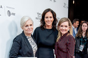 """Mary Harron, Annabeth Gish and Guinevere Turner attend a screening of """"Charlie Says"""" during the 2019 Tribeca Film Festival at Village East Cinema on May 01, 2019 in New York City."""