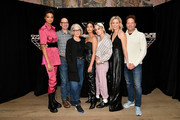 "(L-R) Ella Balinska, Doug Belgrad, Elizabeth Cantillon, Naomi Scott, Kristen Stewart, Elizabeth Banks, and Max Handelman attend the ""Charlie's Angels"" photo call at the Whitby Hotel on November 07, 2019 in New York City."
