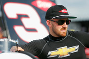 Austin Dillon, driver of the #3 Dow Chevrolet, stands on the grid  during qualifying for the Monster Energy NASCAR Cup Series Bank of America Roval 400 at Charlotte Motor Speedway on September 28, 2018 in Charlotte, North Carolina.