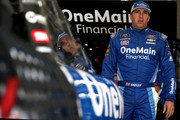 Elliott Sadler, driver of the #1 OneMain Financial Chevrolet, stands in the garage area during practice for the NASCAR XFINITY Series Drive for the Cure 200 at Charlotte Motor Speedway on September 28, 2018 in Charlotte, North Carolina.