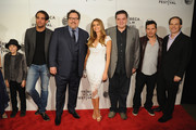 "(L-R) Emjay Anthony, Bobby Cannavale, Jon Favreau, Sofia Vergara, Oliver Platt, John Leguizamo and Sergei Bespalov attend the ""Chef"" world premiere exclusively for American Express card members on April 22, 2014 in New York City."