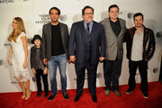 "(L-R) Sofia Vergara, Emjay Anthony, Bobby Cannavale, Jon Favreau, Oliver Platt and John Leguizamo attend the ""Chef"" world premiere exclusively for American Express card members on April 22, 2014 in New York City."