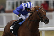 Paul Hanagan riding Taqdeer win The Play The £2.25 Million Scoop6 Today Maiden Stakes at Chelmsford racecourse on April 16, 2016 in Chelmsford, England.